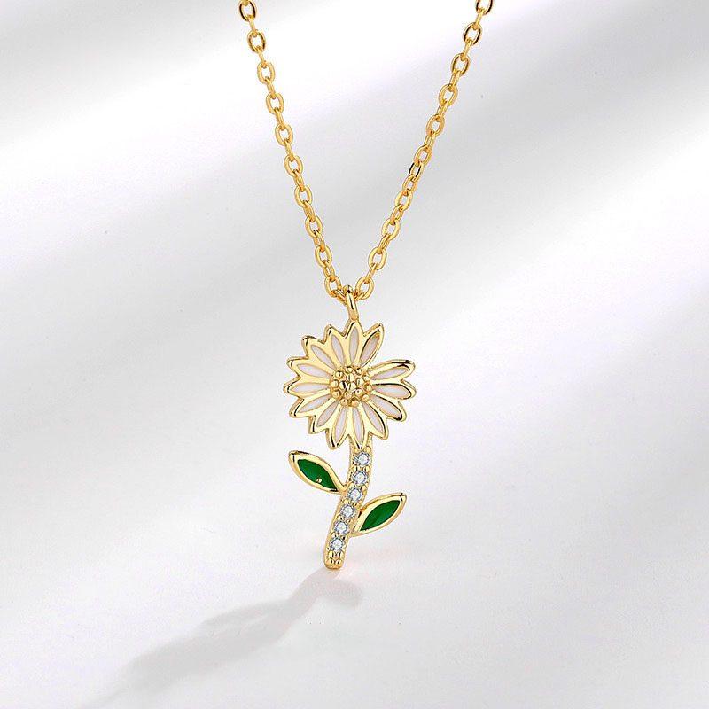Dây chuyền bạc mạ vàng hoa cúc nhỏ LILI_719985-1