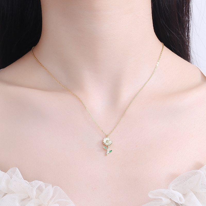 Dây chuyền bạc mạ vàng hoa cúc nhỏ LILI_719985-2