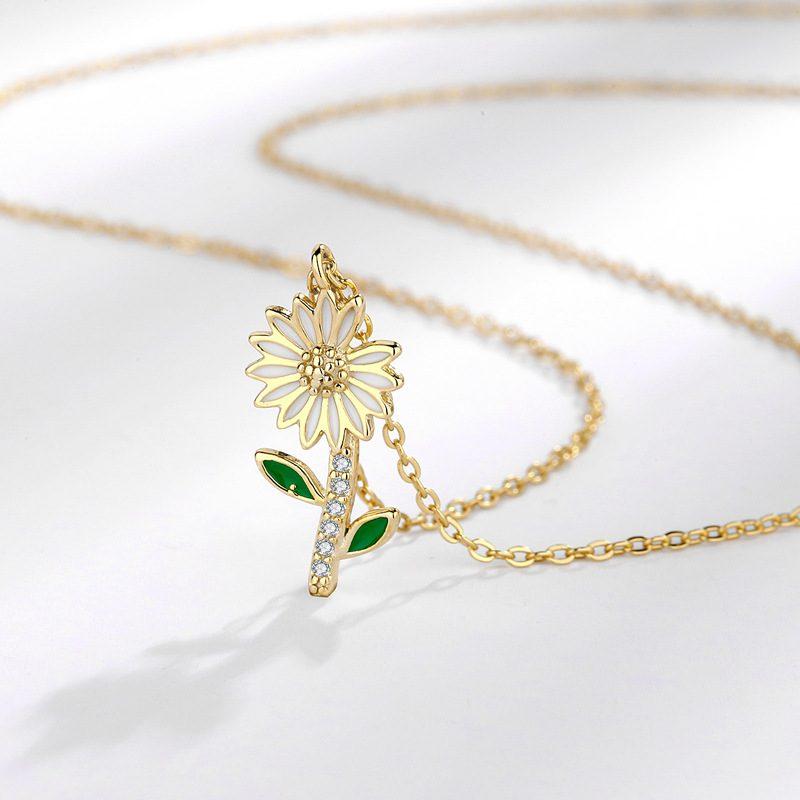 Dây chuyền bạc mạ vàng hoa cúc nhỏ LILI_719985-3