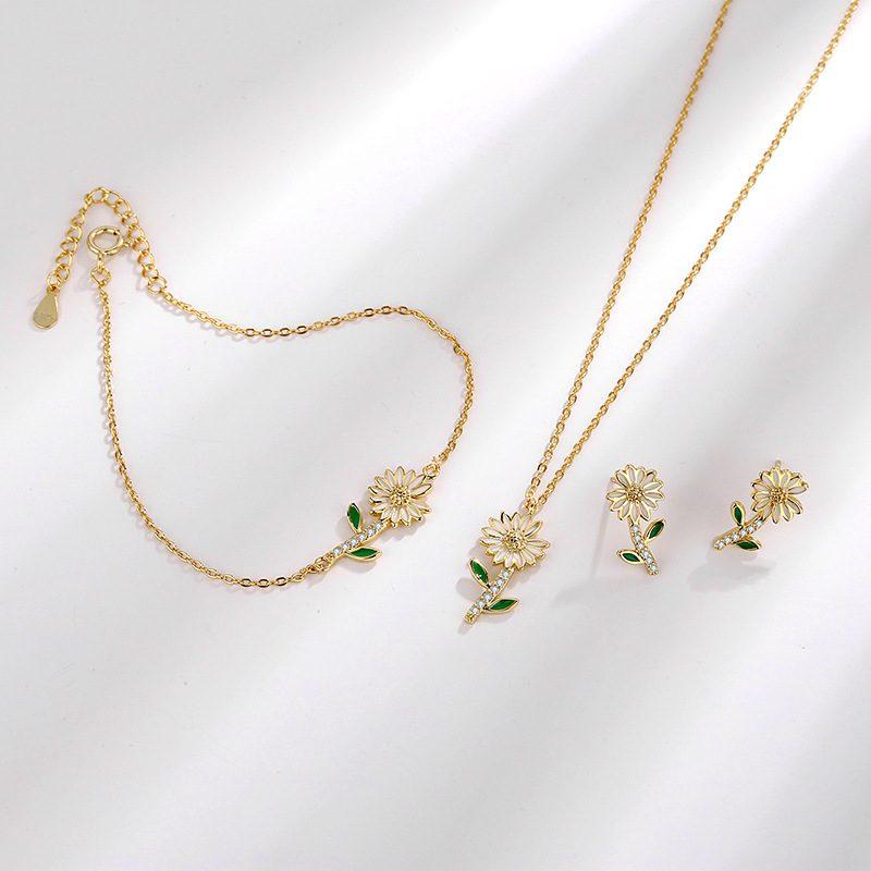 Dây chuyền bạc mạ vàng hoa cúc nhỏ LILI_719985-4