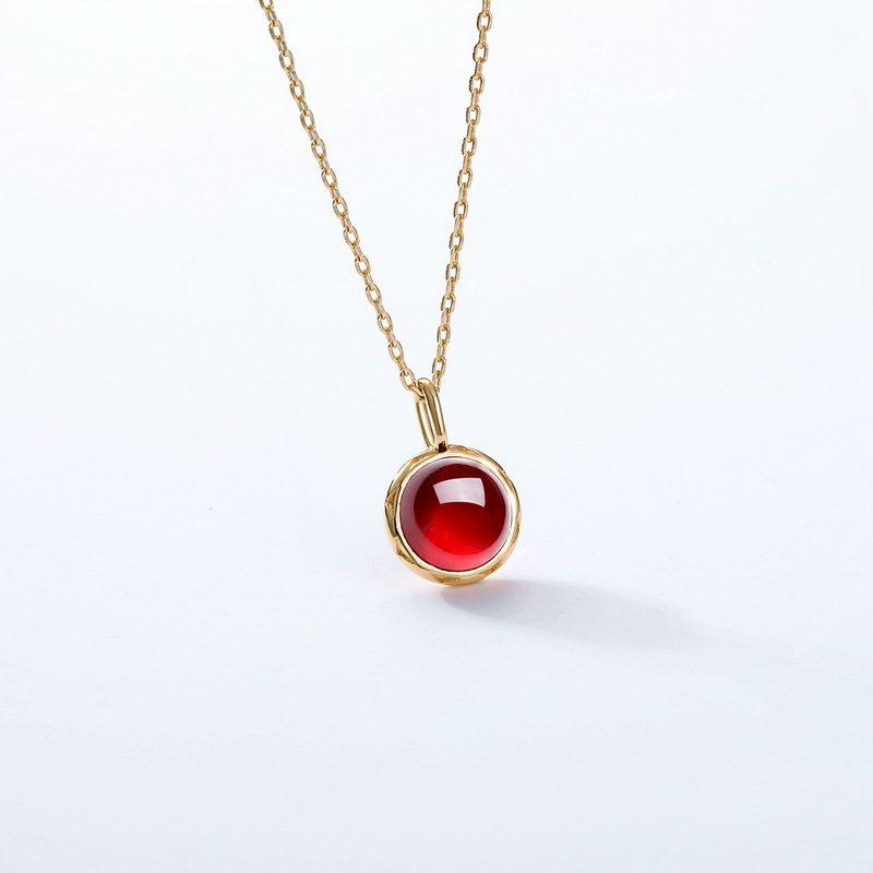 Dây chuyền bạc mạ vàng hồng ngọc lựu LILI_532751-2