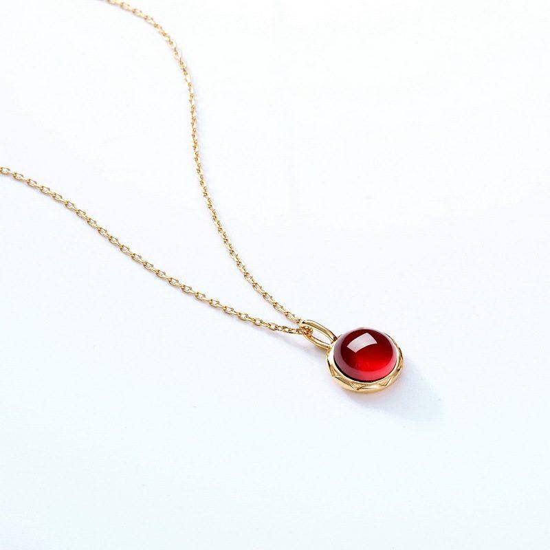 Dây chuyền bạc mạ vàng hồng ngọc lựu LILI_532751-3