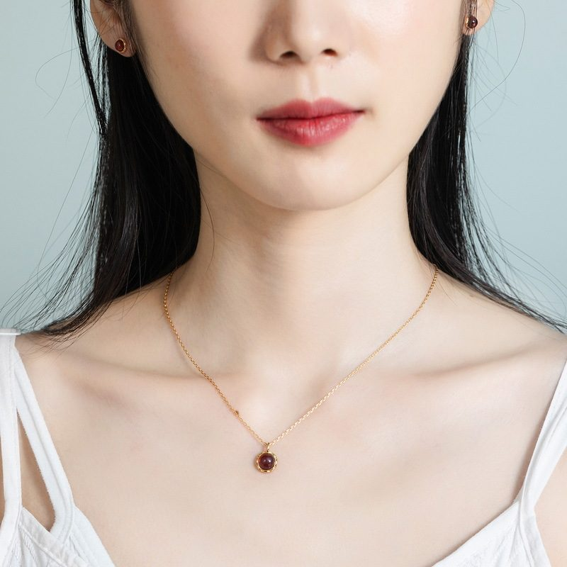 Dây chuyền bạc mạ vàng hồng ngọc lựu LILI_532751-4