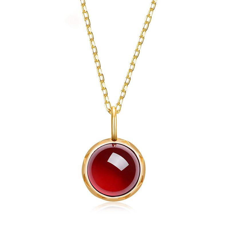 Dây chuyền bạc mạ vàng hồng ngọc lựu LILI_532751-5