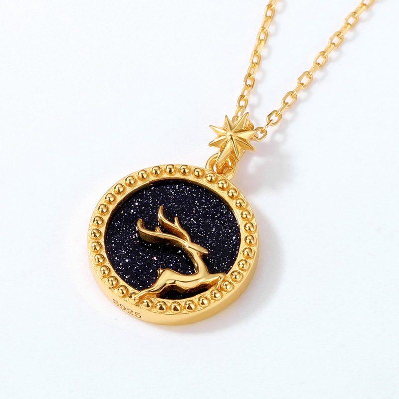 Dây chuyền bạc mạ vàng nai nhỏ trên nền pha lê xanh cát LILI_425471-3