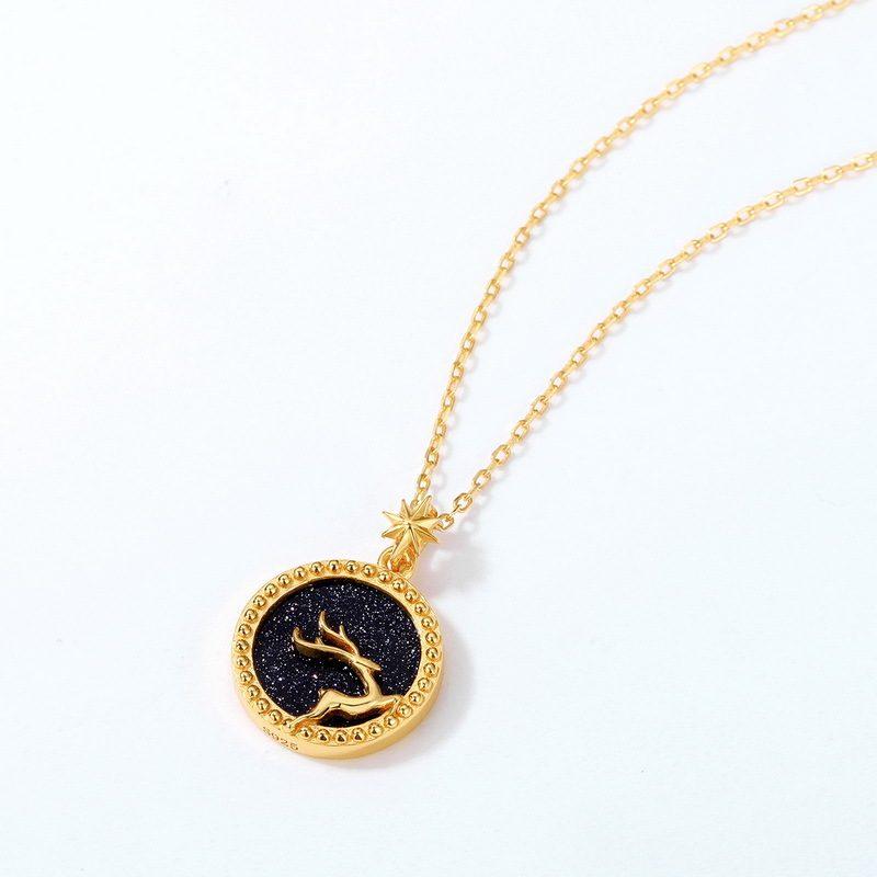 Dây chuyền bạc mạ vàng nai nhỏ trên nền pha lê xanh cát LILI_425471-4