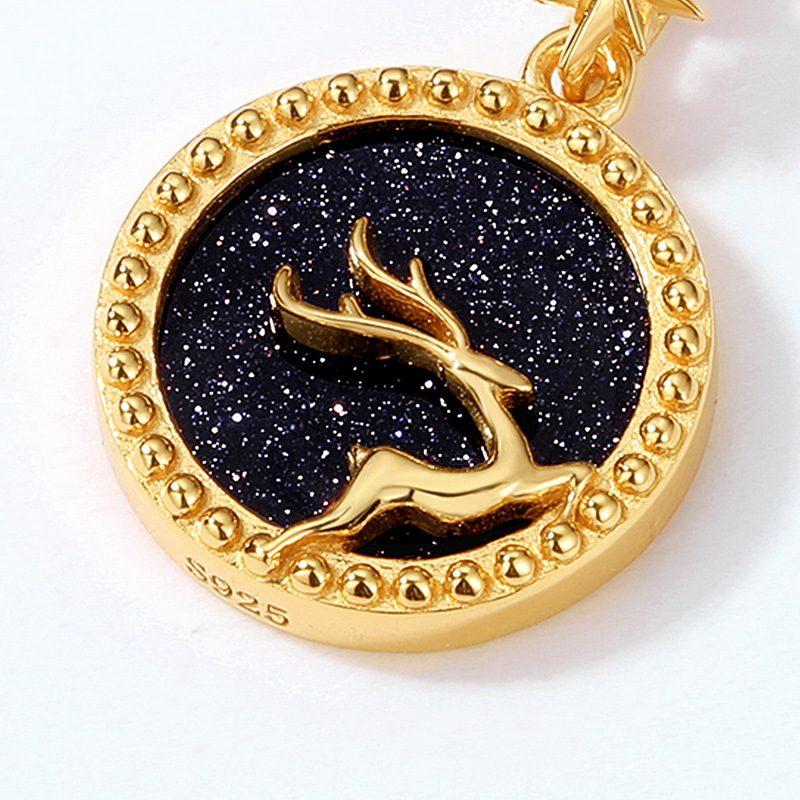 Dây chuyền bạc mạ vàng nai nhỏ trên nền pha lê xanh cát LILI_425471-5