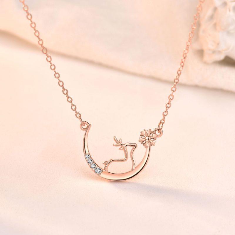 Dây chuyền bạc mạ vàng nai sừng tấm LILI_263847-4