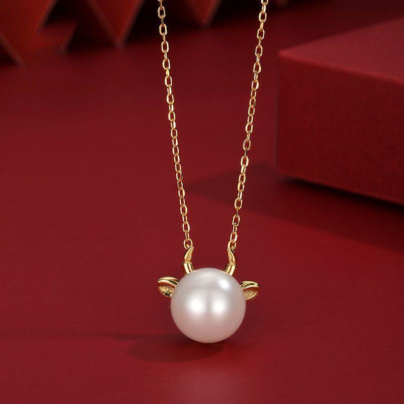 Dây chuyền bạc mạ vàng ngọc trai năm Sửu LILI_581344-1