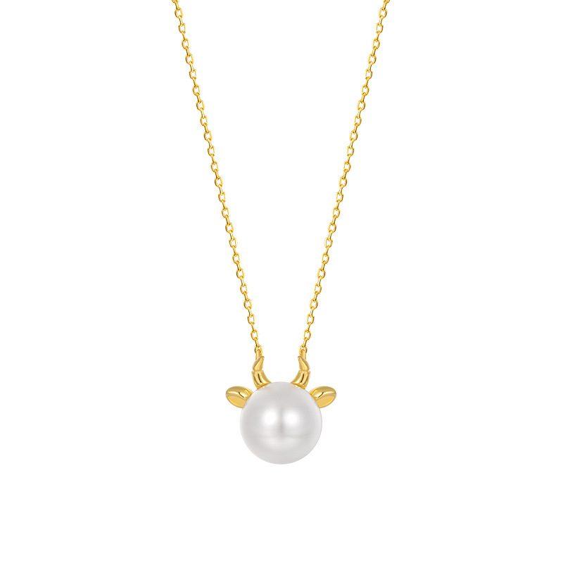 Dây chuyền bạc mạ vàng ngọc trai năm Sửu LILI_581344-2