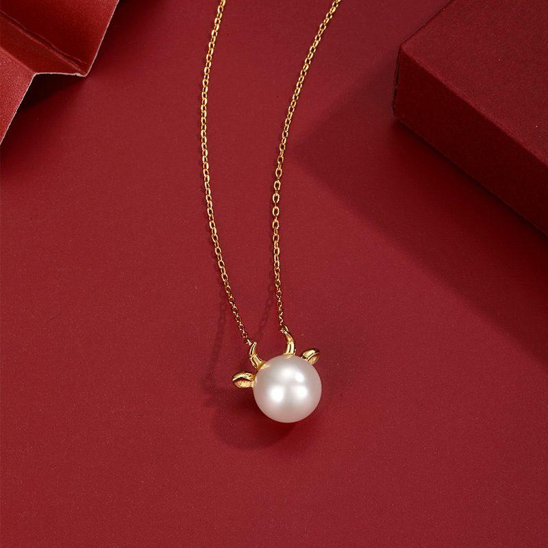 Dây chuyền bạc mạ vàng ngọc trai năm Sửu LILI_581344-5
