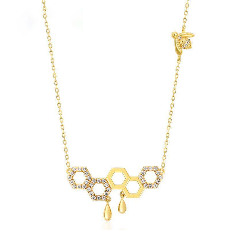 Dây chuyền bạc mạ vàng ô lục tổ ong LILI_596971-1