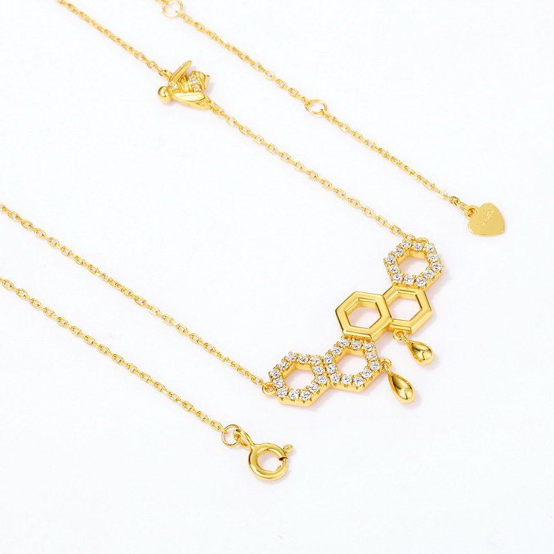 Dây chuyền bạc mạ vàng ô lục tổ ong LILI_596971-2