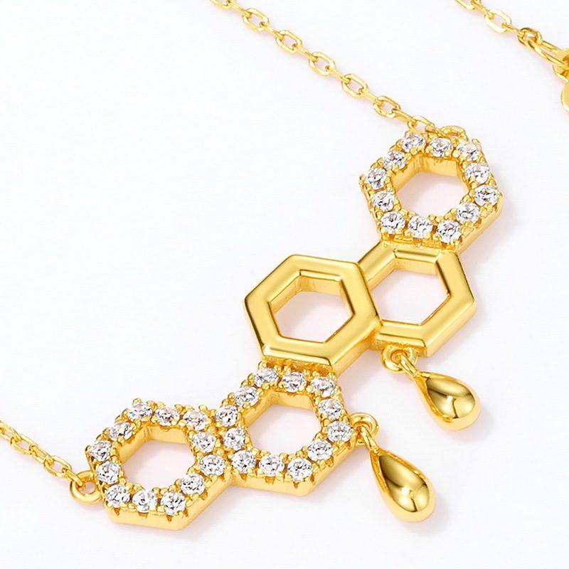 Dây chuyền bạc mạ vàng ô lục tổ ong LILI_596971-3