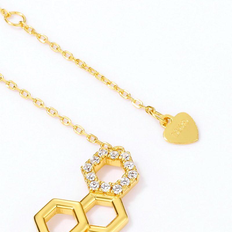 Dây chuyền bạc mạ vàng ô lục tổ ong LILI_596971-4