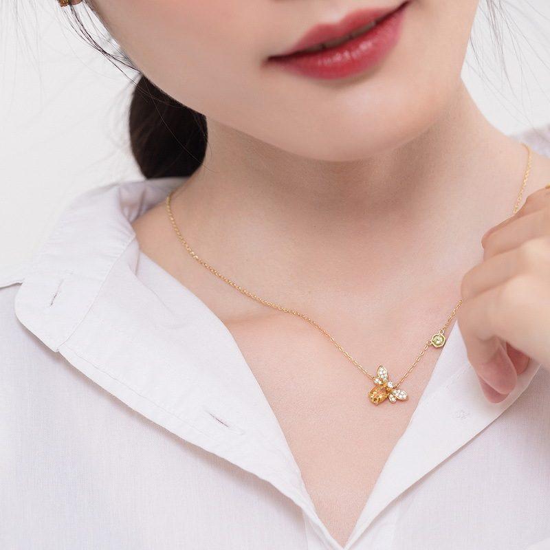 Dây chuyền bạc mạ vàng ong nhỏ Citrine LILI_547779-10