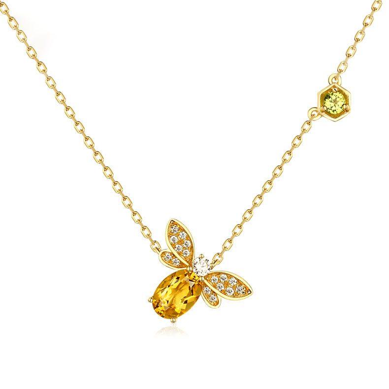 Dây chuyền bạc mạ vàng ong nhỏ Citrine LILI_547779-3