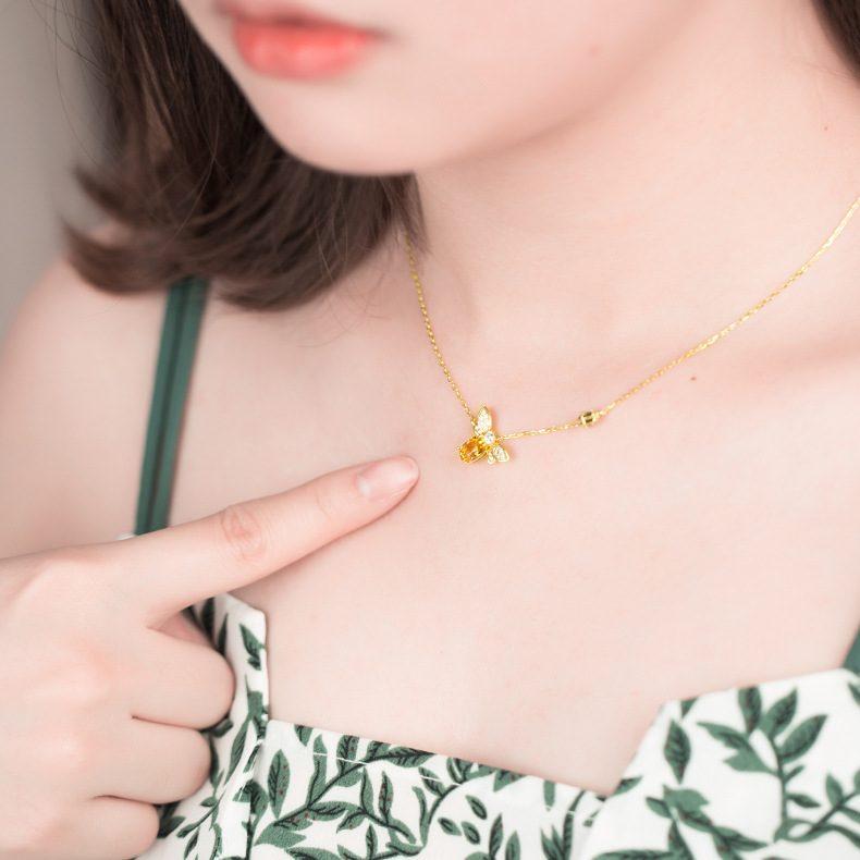 Dây chuyền bạc mạ vàng ong nhỏ Citrine LILI_547779-5