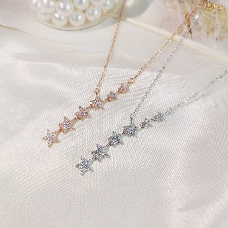 Dây chuy�n bạc mạ vàng sáu ngôi sao LILI_487119-5