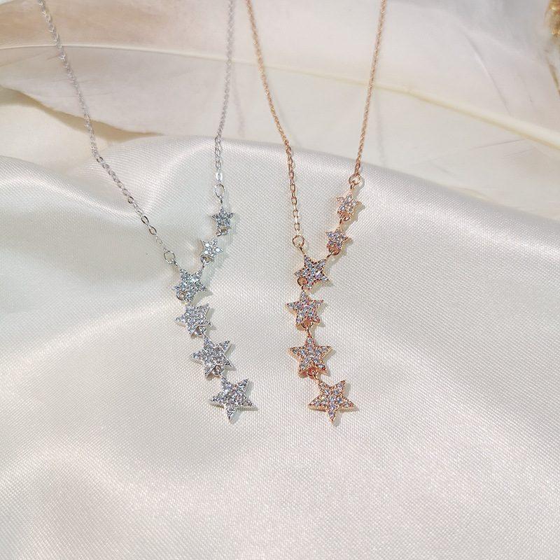 Dây chuyền bạc mạ vàng sáu ngôi sao LILI_487119-6