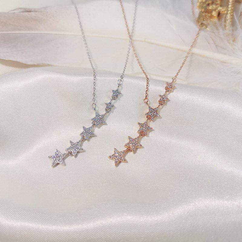 Dây chuyền bạc mạ vàng sáu ngôi sao LILI_487119-7