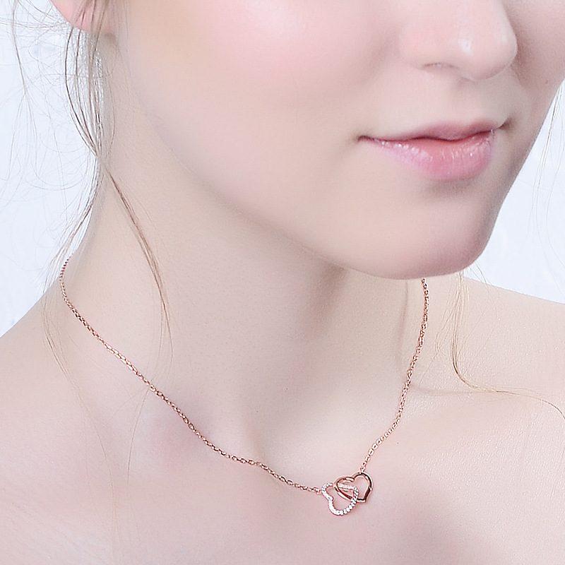 Dây chuyền bạc mạ vàng trái tim đôi LILI_316128-3