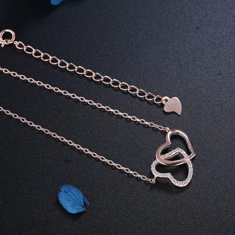 Dây chuyền bạc mạ vàng trái tim đôi LILI_316128-4