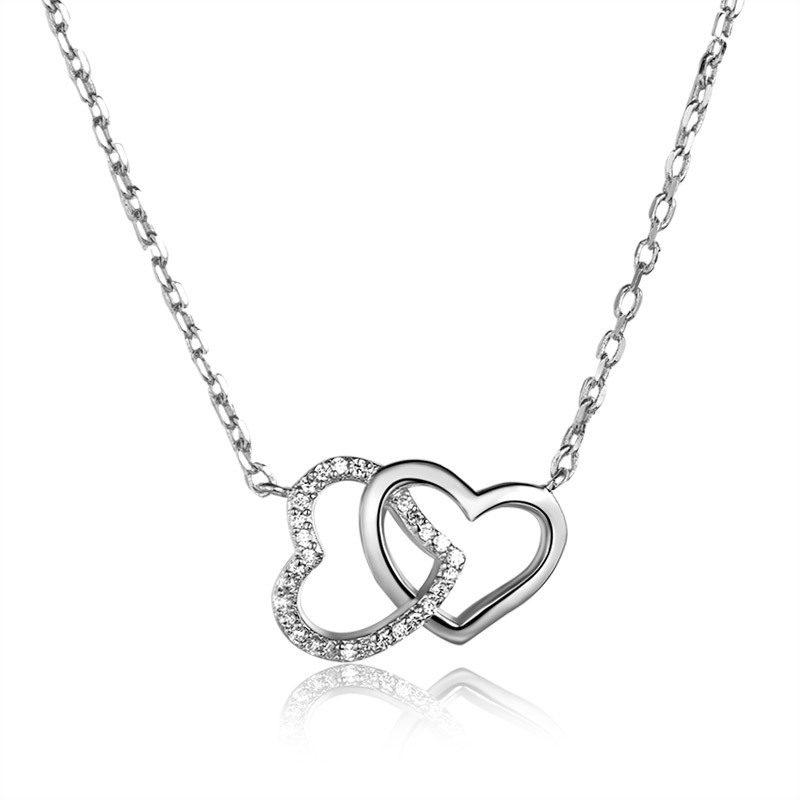 Dây chuyền bạc mạ vàng trái tim đôi LILI_316128-5