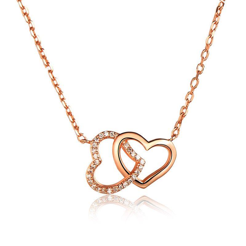 Dây chuyền bạc mạ vàng trái tim đôi LILI_316128-6