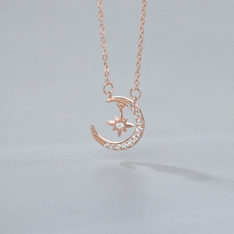 Dây chuyền bạc mạ vàng trăng sao LILI_144186-1