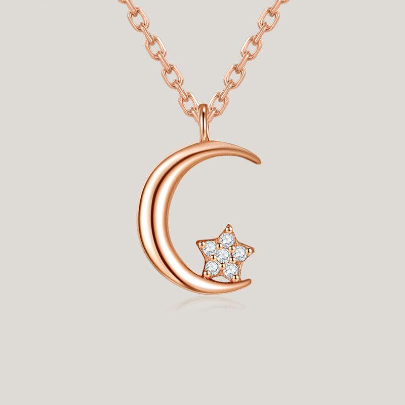 Dây chuyền bạc mạ vàng trăng sao LILI_388317-7