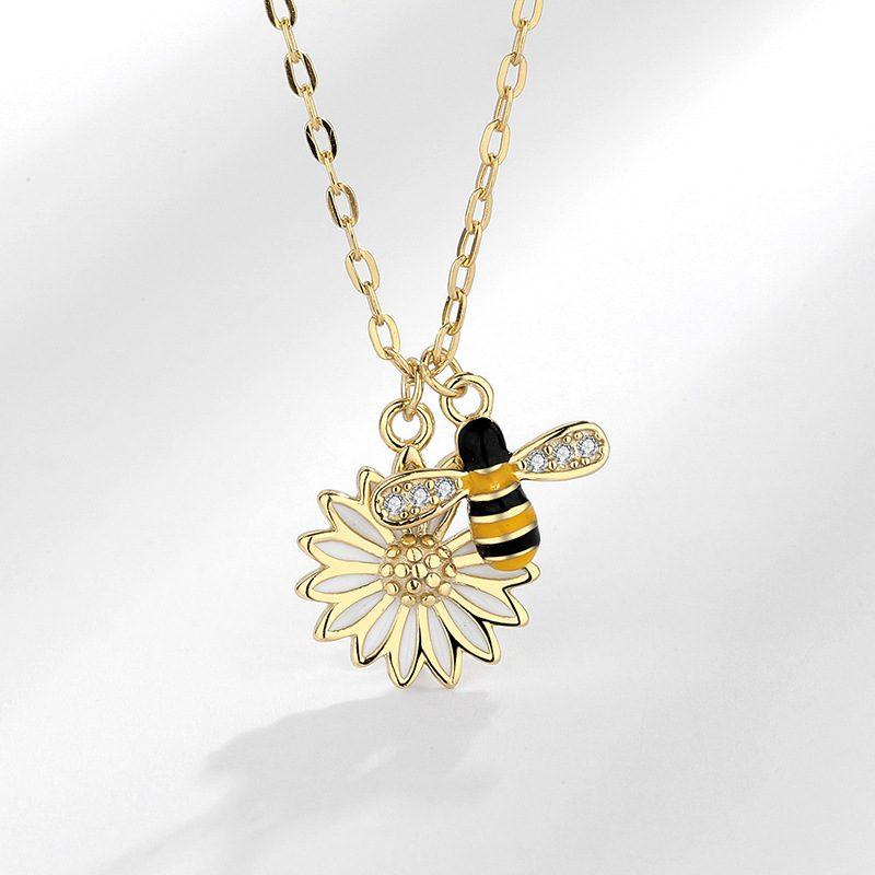 Dây chuyền bạc ong vàng hoa cúc LILI_692786-1