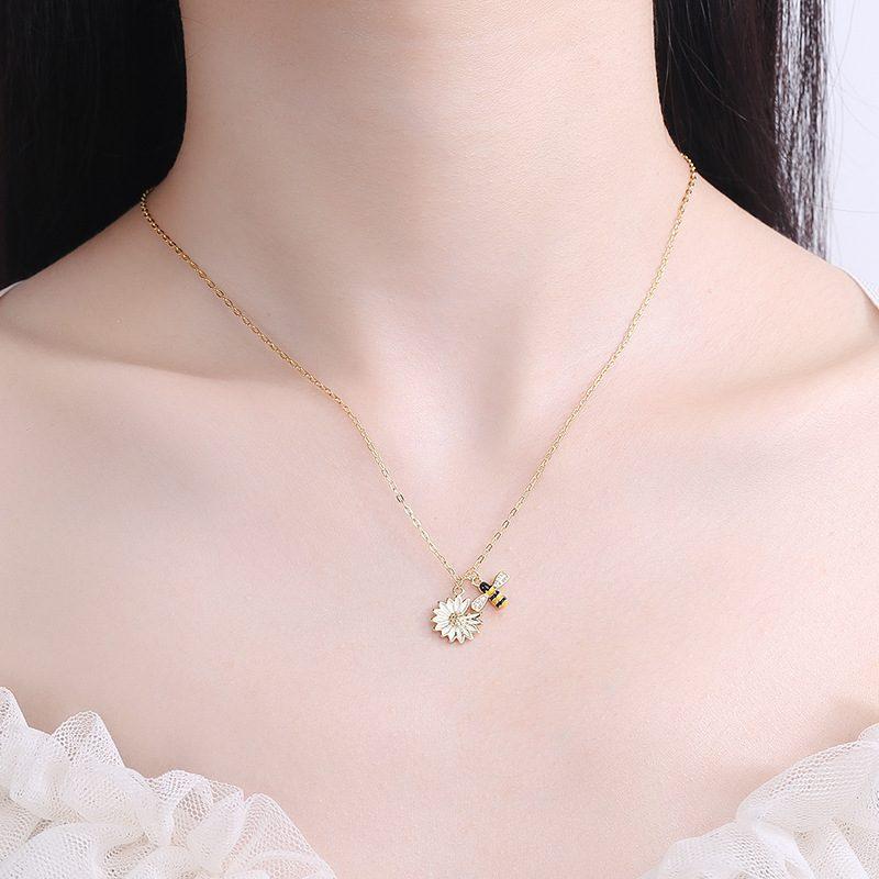 Dây chuyền bạc ong vàng hoa cúc LILI_692786-2