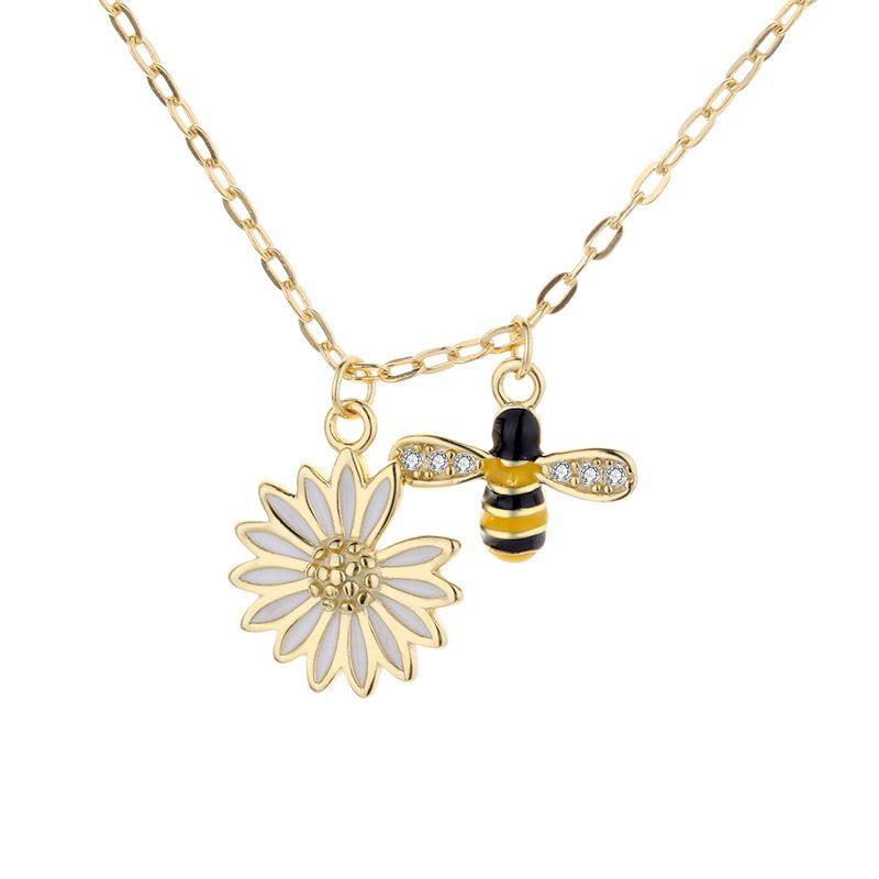 Dây chuyền bạc ong vàng hoa cúc LILI_692786-3