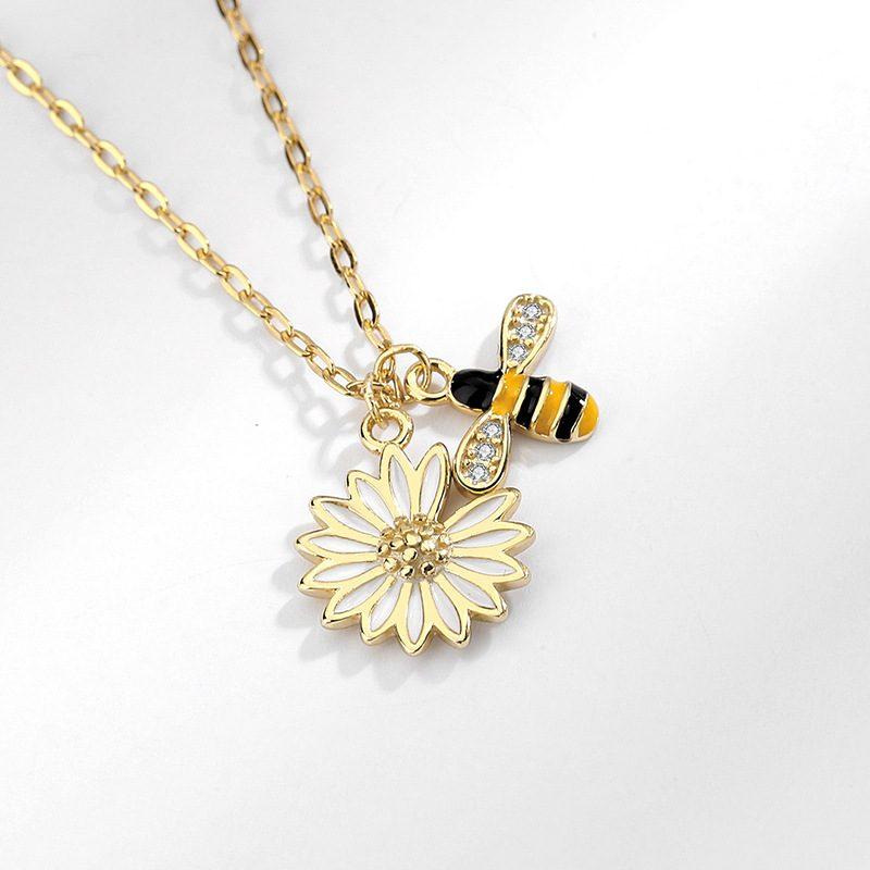 Dây chuyền bạc ong vàng hoa cúc LILI_692786-4