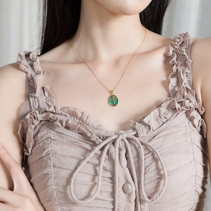 Mặt dây chuyền bạc mạ vàng cây đá malachite LILI_459792-3