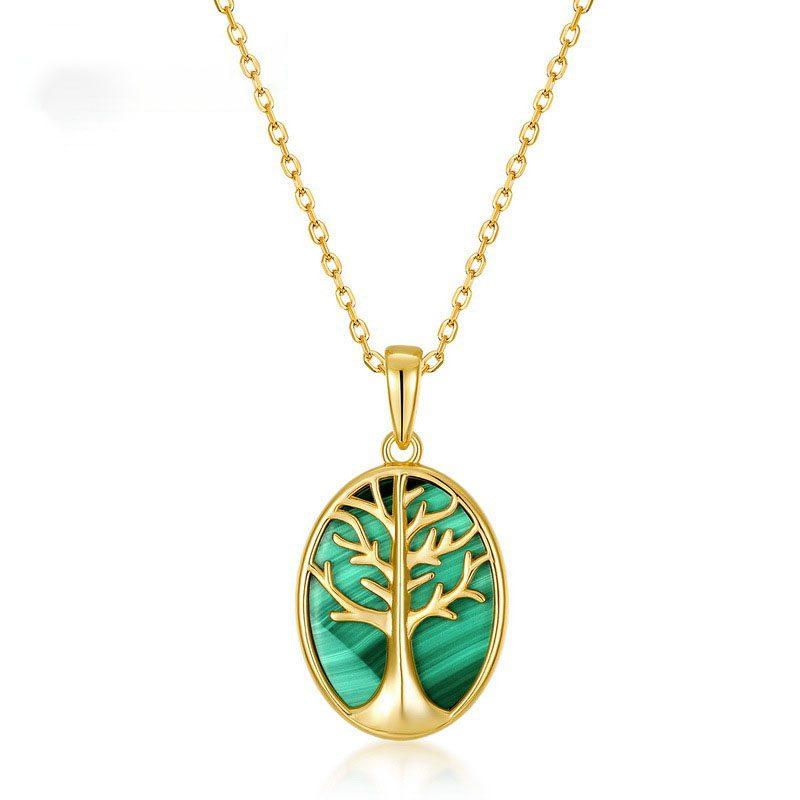 Mặt dây chuyền bạc mạ vàng cây đá malachite LILI_459792-4