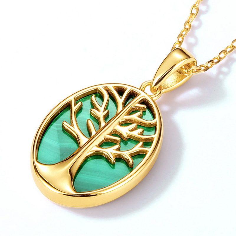 Mặt dây chuyền bạc mạ vàng cây đá malachite LILI_459792-5