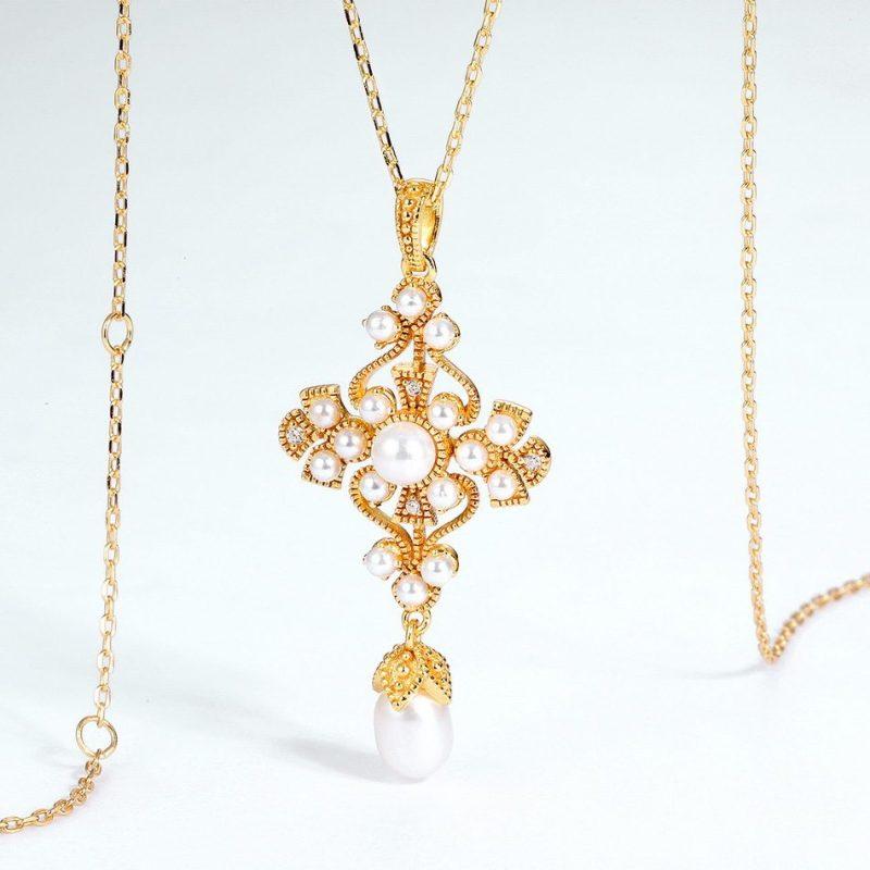 Mặt dây chuyền bạc mạ vàng đính ngọc trai LILI_482496-