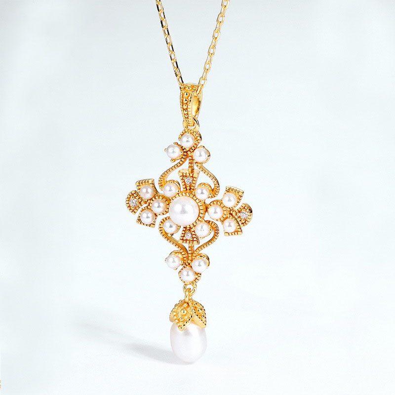 Mặt dây chuyền bạc mạ vàng đính ngọc trai LILI_482496-1