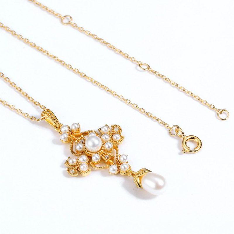 Mặt dây chuyền bạc mạ vàng đính ngọc trai LILI_482496-2