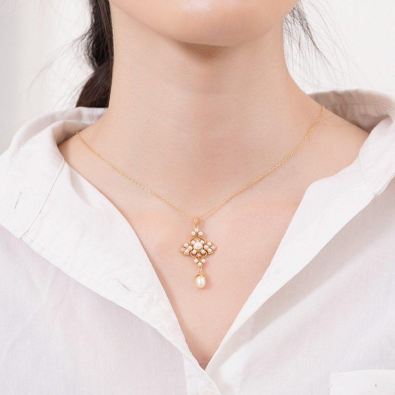 Mặt dây chuyền bạc mạ vàng đính ngọc trai LILI_482496-3