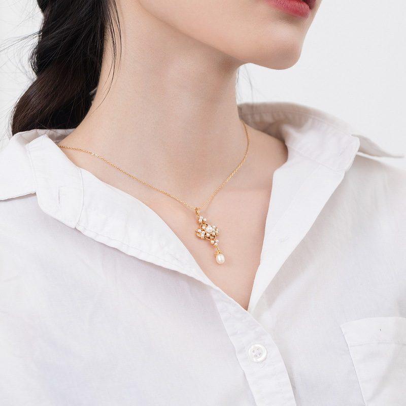 Mặt dây chuyền bạc mạ vàng đính ngọc trai LILI_482496-9