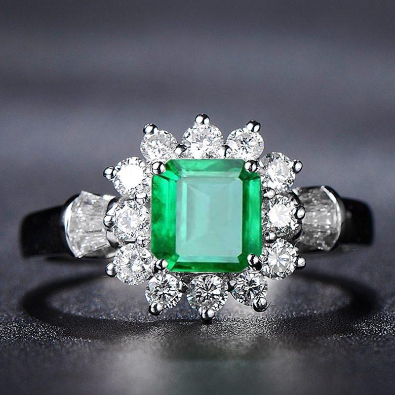 Nhẫn bạc đính đá Zircon Green LILI_815149-01