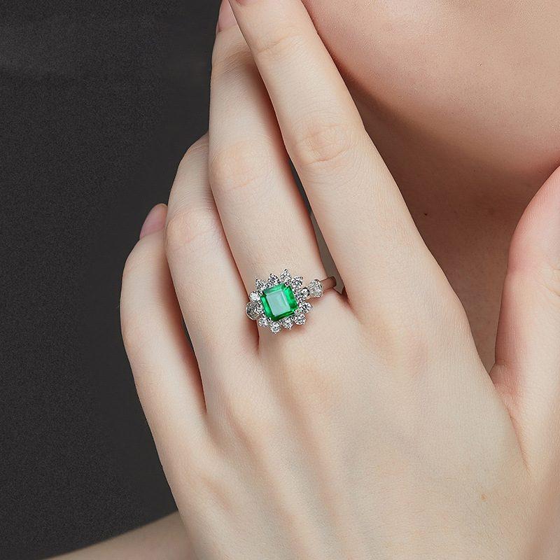 Nhẫn bạc đính đá Zircon Green LILI_815149-02