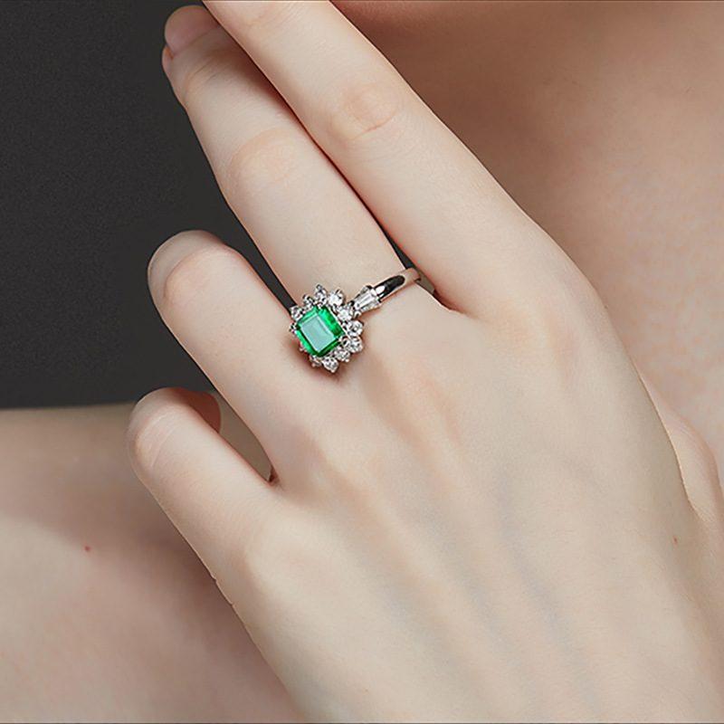 Nhẫn bạc đính đá Zircon Green LILI_815149-03