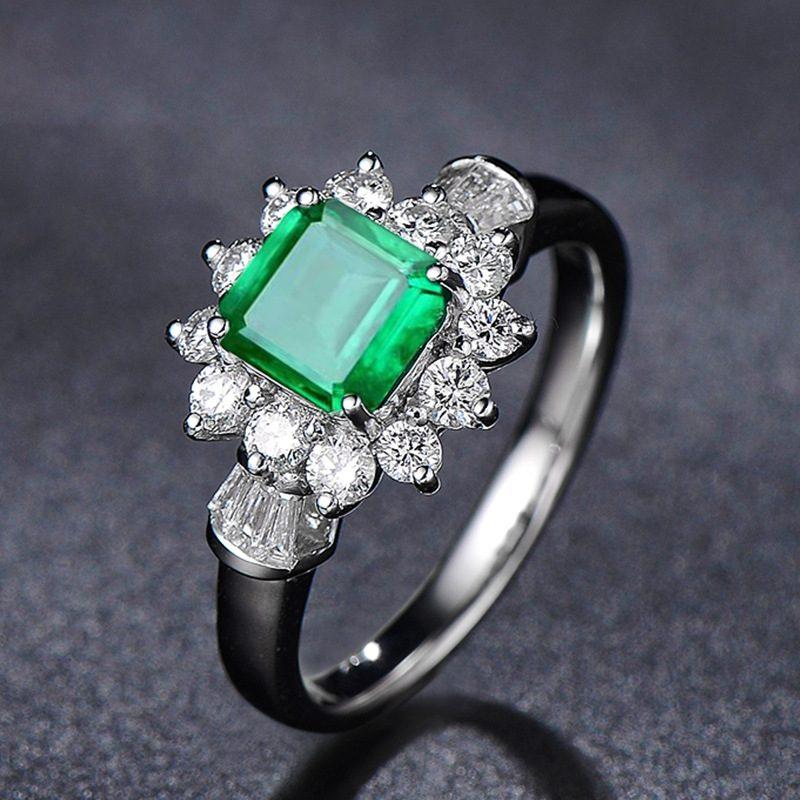 Nhẫn bạc đính đá Zircon Green LILI_815149-05