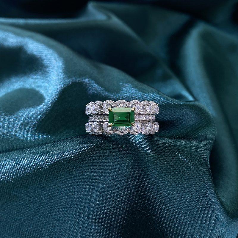 Nhẫn bạc đính đá Zircon Green LILI_866748-02