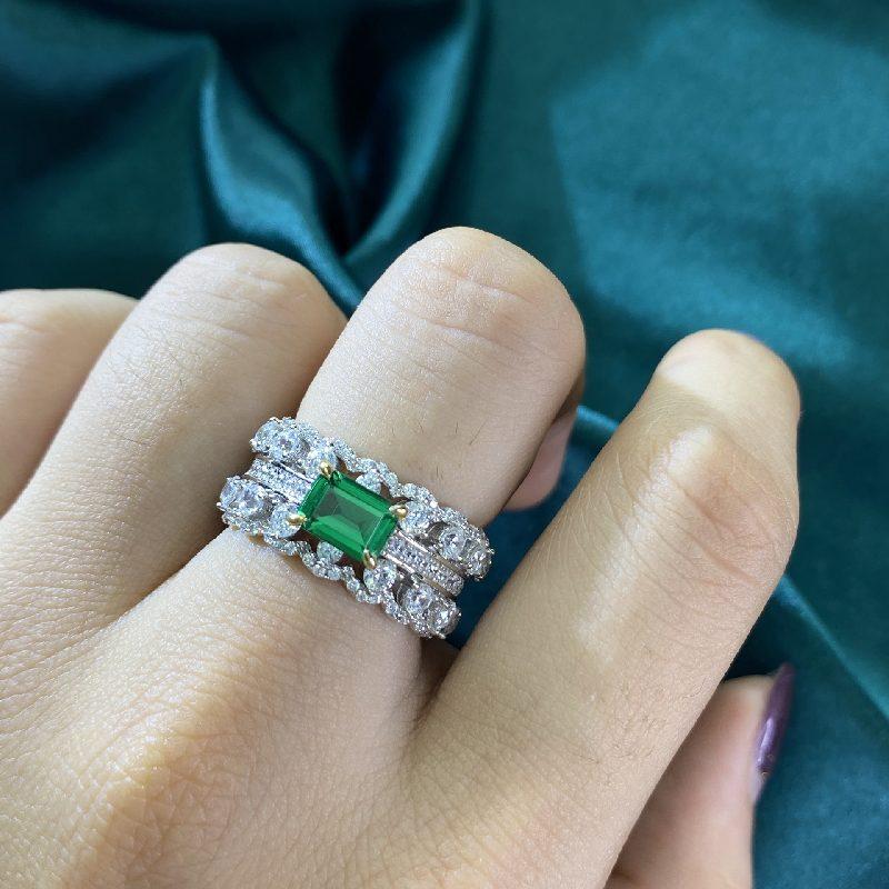 Nhẫn bạc đính đá Zircon Green LILI_866748-04
