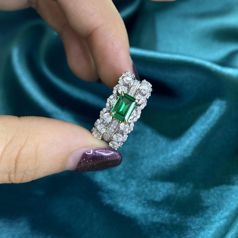 Nhẫn bạc đính đá Zircon Green LILI_866748-05